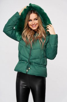 Jacket green ribbon fastening with faux fur accessory detachable hood from slicker casual