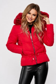 Red jacket ribbon fastening with faux fur accessory detachable hood from slicker casual