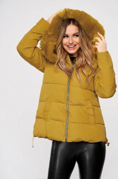 Mustard from slicker jacket with zipper details pockets with faux fur accessory detachable hood