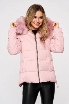 Pink from slicker jacket with zipper details pockets with faux fur accessory detachable hood