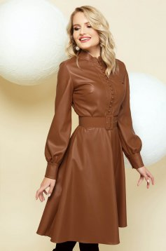 Dress cloche brown from ecological leather accessorized with belt with buttons
