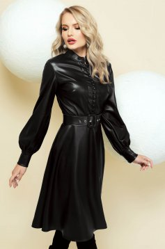 Dress cloche black from ecological leather accessorized with belt with buttons