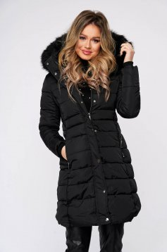 Black jacket fur collar detachable collar long from slicker thin fur lining