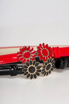Set from ecological varnished leather with red flower shaped accessory