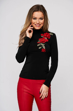 StarShinerS black women`s blouse with turtle neck tented from elastic and fine fabric