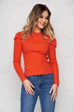 Bluza dama SunShine portocalie mulata din material reiat cu aplicatii cu pietre strass si umeri cu volum