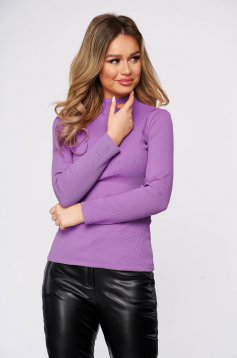 Lightpurple women`s blouse cotton from striped fabric from elastic fabric tented turtleneck