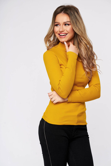 Bluza dama SunShine galbena din bumbac reiat elastic mulata pe gat