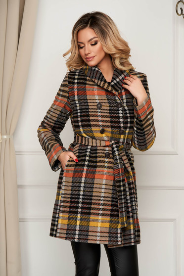 Brown coat wool straight accessorized with tied waistband office with stripes