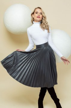 Black occasional skirt from ecological leather cloche high waisted pleats of material