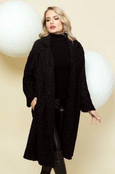 Palton PrettyGirl negru lung din material pufos tip blanita cu croi larg