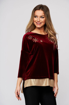 Women`s blouse StarShinerS burgundy occasional velvet front embroidery