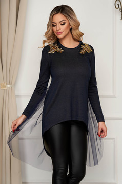 Women`s blouse StarShinerS darkblue asymmetrical flared with net accessory with crystal embellished details