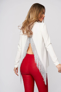 Women`s blouse StarShinerS white clubbing with cut back with fringes