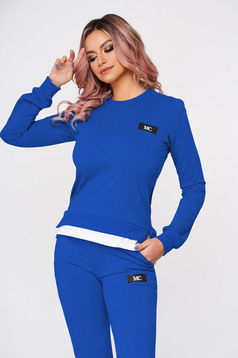 Blue sport 2 pieces flared 2 pieces slightly elastic cotton with trousers