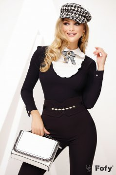 Women`s shirt black elegant bow accessory accessorized with breastpin ruffled collar