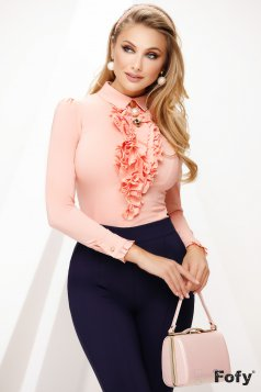 Women`s shirt peach office with collar accessorized with breastpin with ruffle details