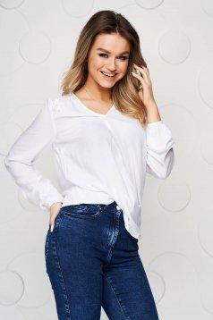 Bluza dama Top Secret alba cu croi larg cu decolteu in v si franjuri din paiete