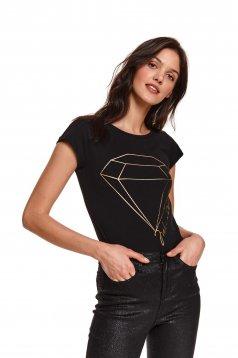 Black t-shirt cotton with print details neckline flared