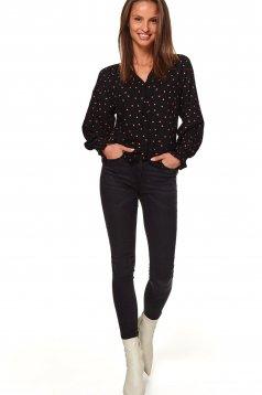 Bluza dama Top Secret neagra casual cu decolteu in v cu croi larg se inchide cu nasturi