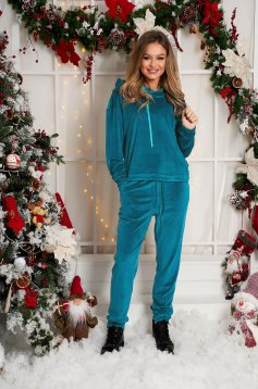Turquoise casual sport 2 pieces 2 pieces loose fit with undetachable hood