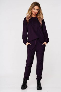 Purple casual sport 2 pieces 2 pieces loose fit with undetachable hood