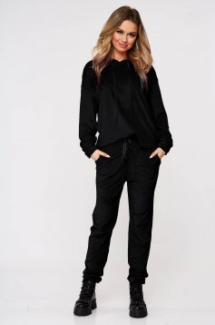 Black casual sport 2 pieces 2 pieces loose fit with undetachable hood