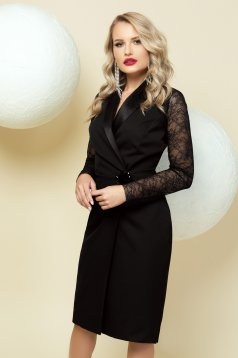 Dress black occasional pencil wrap around with laced sleeves