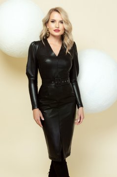 Dress black from ecological leather occasional high shoulders frontal slit