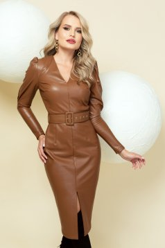 Dress brown from ecological leather occasional high shoulders frontal slit