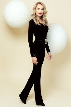 Trousers black occasional flared accessorized with belt high waisted