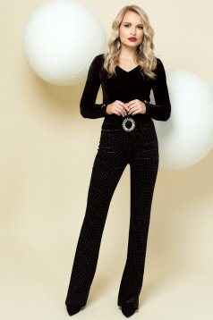 Body black occasional with button accessories with v-neckline