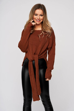 Brown women`s blouse from elastic and fine fabric from striped fabric casual