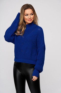 Blue sweater knitted with puffed sleeves flared slightly transparent fabric