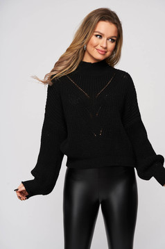 Black sweater knitted with puffed sleeves flared slightly transparent fabric