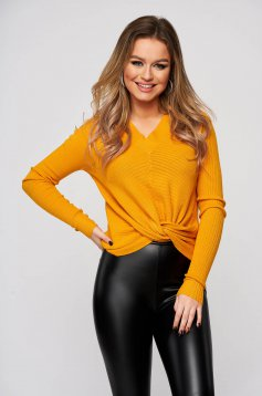 Mustard women`s blouse with v-neckline from striped fabric flared