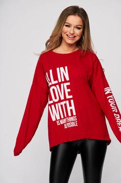 Bluza dama SunShine rosie din bumbac cu imprimeu cu scris si croi larg