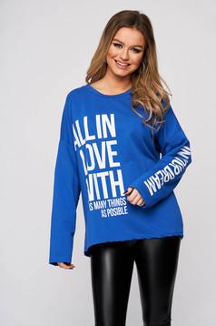 Bluza dama SunShine albastra din bumbac cu imprimeu cu scris si croi larg