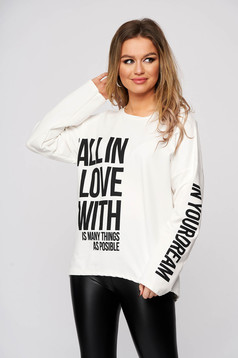 White women`s blouse cotton with writing print flared