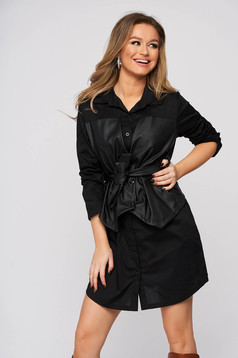 Black dress shirt dress accessorized with tied waistband with faux leather details