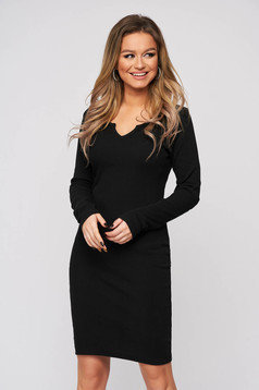 Black dress cotton from elastic fabric with tented cut with deep cleavage