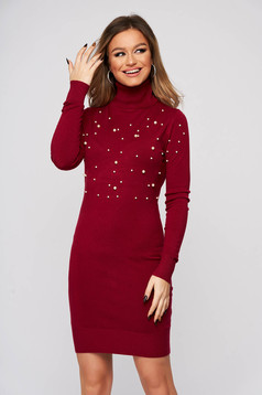 Burgundy dress turtleneck with pearls from elastic and fine fabric short cut