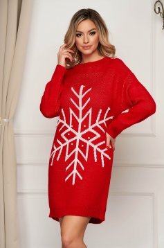 Red dress with pearls knitted from elastic fabric flared