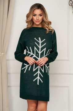 Green dress with pearls knitted from elastic fabric flared