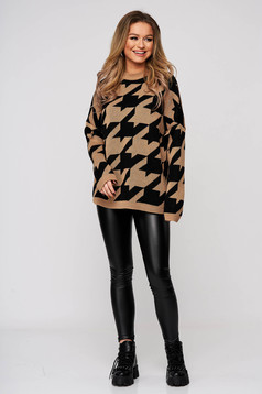 Sweater dogtooth knitted thin fabric flared