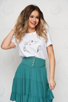 White women`s blouse with graphic details loose fit cotton
