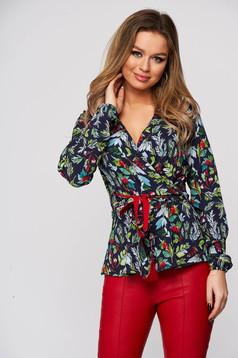 Bluza dama StarShinerS cu imprimeu floral office cu croi larg cu decolteu in v din material subtire