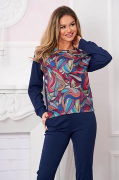 Bluza dama StarShinerS albastru-inchis casual cu croi larg din material usor elastic cu imprimeu grafic