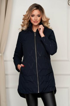 Jacket asymmetrical darkblue from slicker the jacket has hood and pockets
