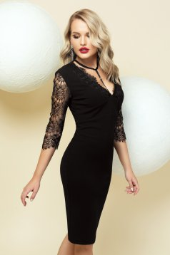 Dress occasional black with tented cut with lace details with laced sleeves midi